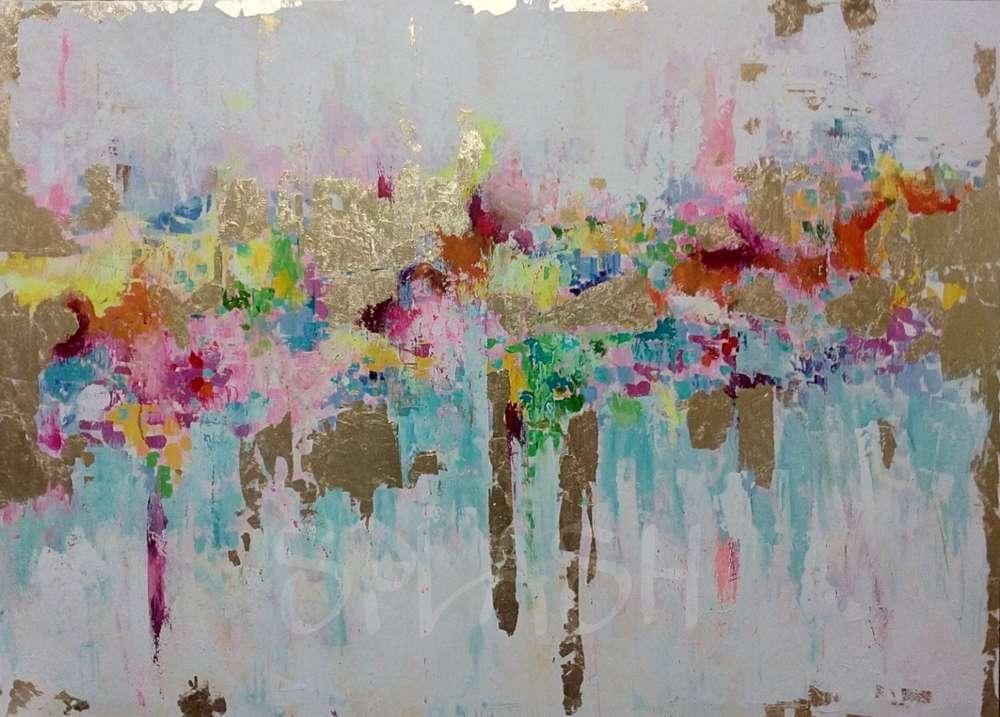 obra de arte abstracta sobre lienzo