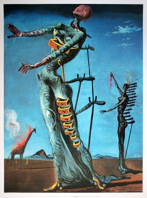Cuadros en Óleo Originales Jirafa en Llamas de Salvador Dali